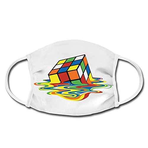 Spreadshirt Rubik's Cube Zauberwürfel Melting Cube Mund-Nasen-Bedeckung, Weiß