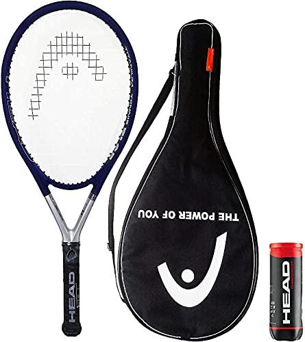 HEAD TiS5 - Racchetta da tennis in titanio con copertura e 3 palline da tennis da campionato (impugnatura da L1 a L5) (impugnatura 2 (4 1 4 )