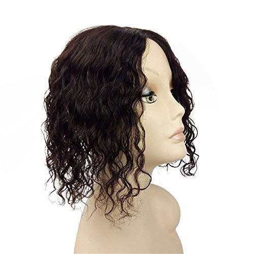 Toupee à Pince Cheveux Brésilienne Cheveux à clips Remplacement Supérieure Lace Topper pour les Femmes avec Cheveux Clairsemée et Blanc 10*12CM Brun Foncé 20CM