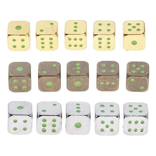 GENFALIN 15 Paquete estándar con los Puntos Dados D6 cuadritos for los Juegos de Mesa, Tema del Casino, favores de Fiesta, Regalos de Juguete (Brillan en la Oscuridad)