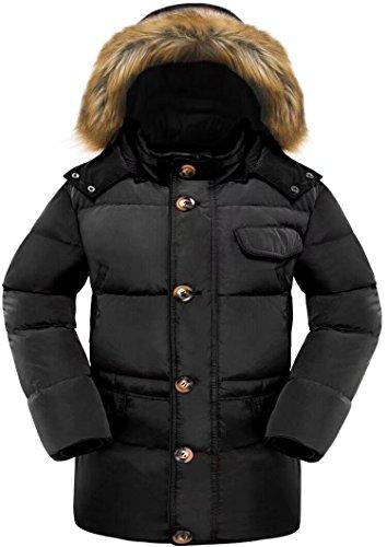 Beinia Valuker Men's Down Coat with Fur Hood 90D Parka Puffer Jacket Black-US(L)