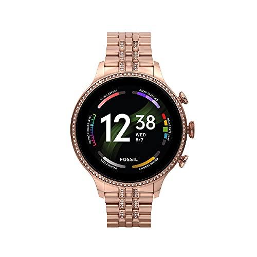 Smartwatch Gen 6 Para Mujer, de Fossil de Acero Inoxidable en Tono Oro Rosa, con Brazalete de Acero Inoxidable en Tono Oro Rosa, FTW6077