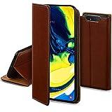 Moozy Lederhülle für Samsung A80, Braun - Ledertasche, Echt Leder Hülle mit Kartensteckplätze, Kartenfach & Standfunktion