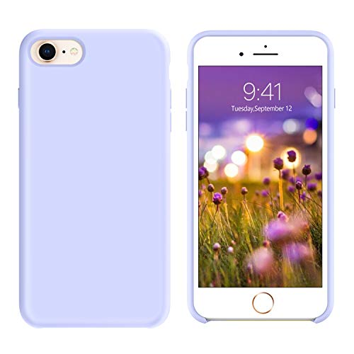 GUAGUA iPhone SE 2020 Case iPhone 8 Case iPhone 7 Case 4.7-inch Liquid Silicone Soft Gel Rubber Slim Microfiber Lining Cushion Texture Cover Protective Case for iPhone 8/7/SE 2020 Light Purple