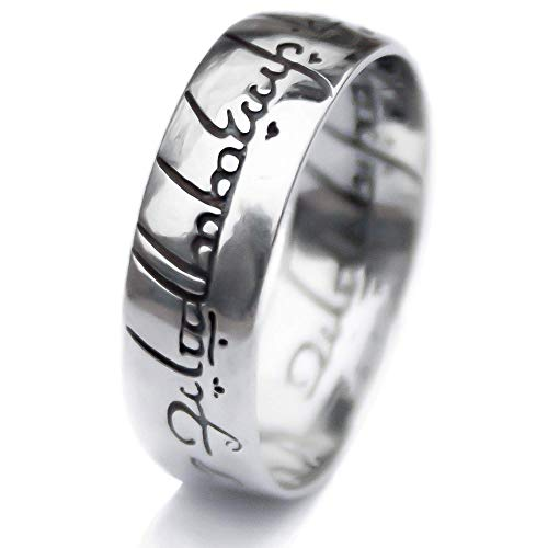 The One Ring To Rule Them All 925 Sterling Silver Replica Engraved Band Thumb Ring of Power Lord of the Rings LOTR Elvish Band Ring Magic Jewelry for Men Women Teens Handmade