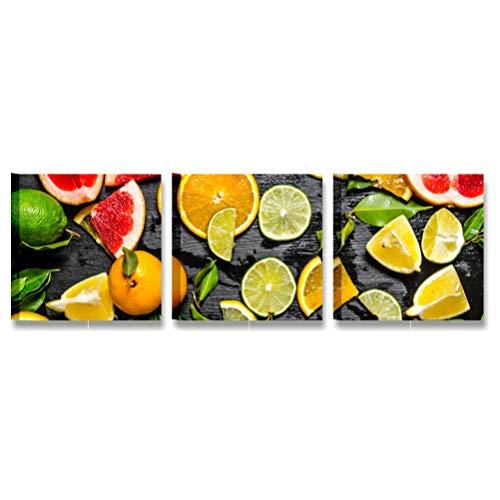 Quadri L&C ITALIA Quadri Cucina Moderni Frutta 1 – Stampe su Tela Canvas 25 x 25 Tris Quadretti da Appendere a Parete Arredo Decorazioni Bar Ristorante