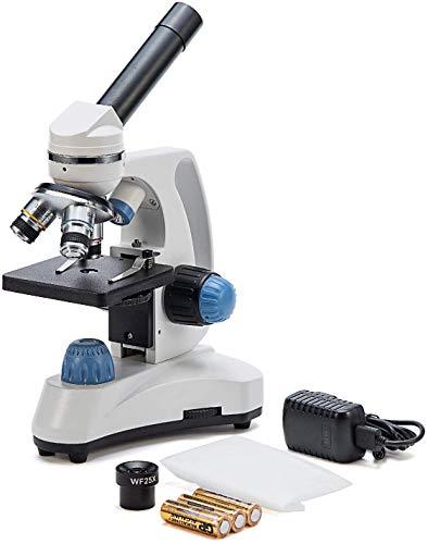 SWIFT Microscopio SW150, Microscopio estudiantil Compuesto, 40X-1000X, Cabezal monocular, Pieza Ocular WideField 25X Adicional, Enfoque Grueso y Fino, Iluminación Dual, Inalámbrico (Enchufe UK)