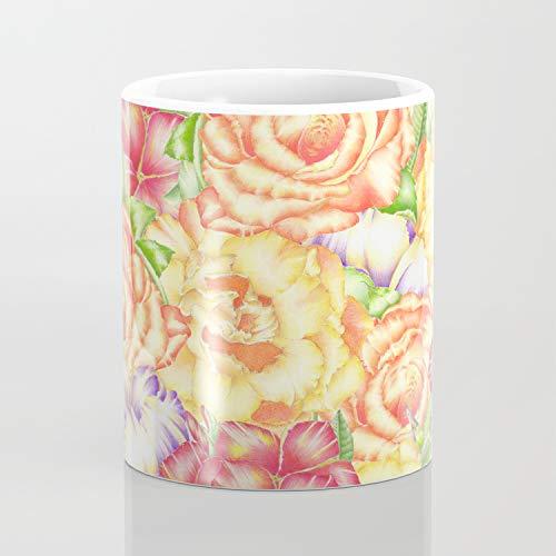 Taza de café con diseño de flores inmerso en flores, 325 ml, regalo divertido artístico