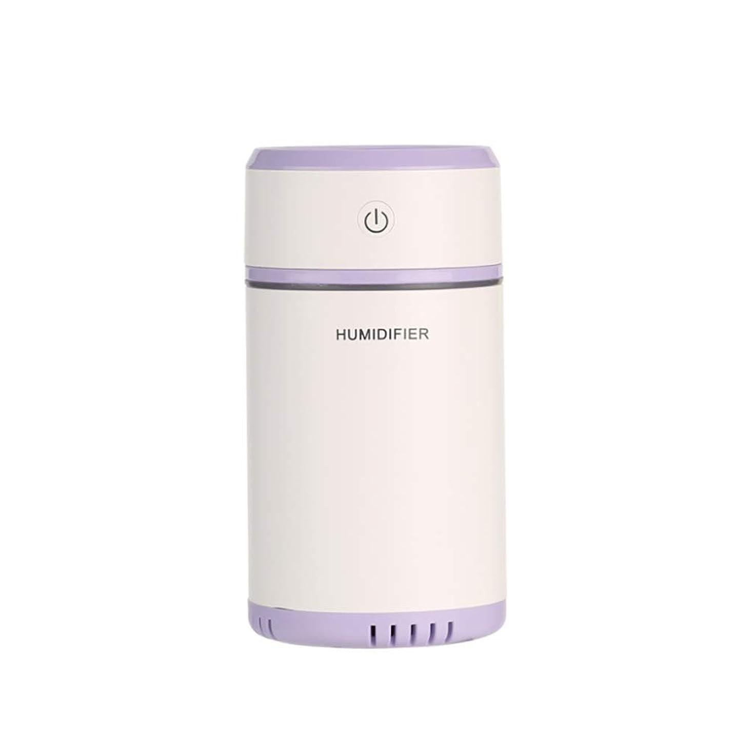 繁栄する発生するシャッフル車の空気清浄機、車の空気清浄ミニusb加湿器、7色ナイトライト (色 : 紫の)