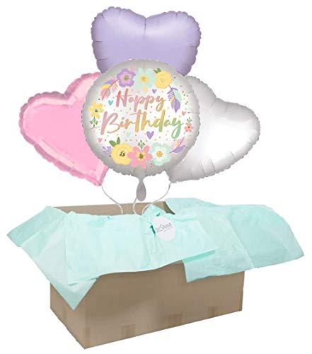 DECORAMI Heliumballons, Happy Birthday Rainbow Love | Geschenkidee | Ballon Set | Geburtstag Geschenk | 4 hochwertige Ballons mit Helium befüllt ca. 7 Tage Schwebedauer (ohne Grußkarte)