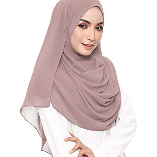LMVERNA Chiffon Scarf for Women Muslim Solid Color Bubble Hijab Long Scarf Wrap (Antique pink)