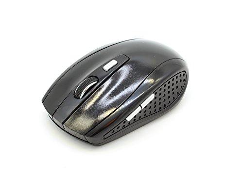 Office Maus✭zonder kabel 2.4G 1600 DPI verstelbaar met 6 toetsen draadloos draadloos draadloos draadloos met USB-ontvanger beide handen 10m Gaming voor Computer PC Laptop Notebook PC Homeoffice Macbook Surface voor gamen zwart (zwart)