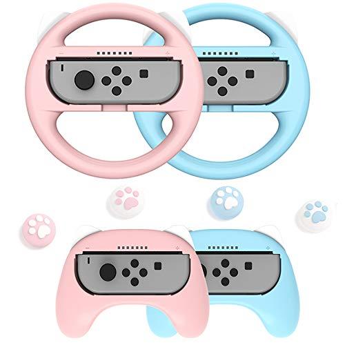 8in1 Switch Joycon Zubehör Set,2 Switch Lenkrad 2 Switch Griff mit 4 Joystick Kappen Thumb Grip für Switch,Joy-Con Griff Switch Halter Schutz Hülle für Mario Kart Game Switch Spiele Rennspiele