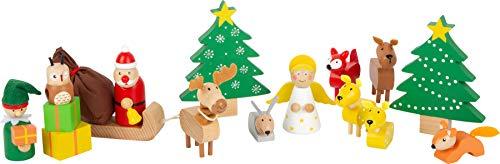Small Foot 11749 Spielset Waldweihnacht der Tiere aus Holz, mit weihnachtlichen Spielfiguren, für Kinder ab 3 Jahren Toys