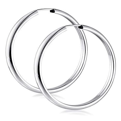MATERIA Breite Creolen Silber 925 Damen - 40mm Kreolen Ohrringe rund für Frauen Teenager mit Schmuck Etui SO-131