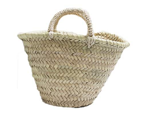 Capazo de Palma Infantil, con asa Corta de Pita. Cesto o Bolso de Mimbre de Fibras Naturales. Aprox. 23x20x17 cm