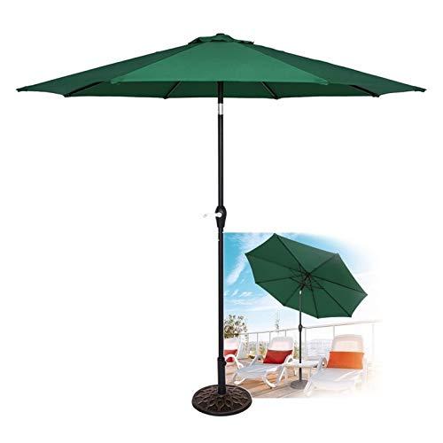 SKYWPOJU Parasol de jardín de 2,7 m Parasol de Exterior con manivela y función de inclinación, Parasol de Patio para jardín, Playa y Exterior (la Base no está incluida) (Color : Green)