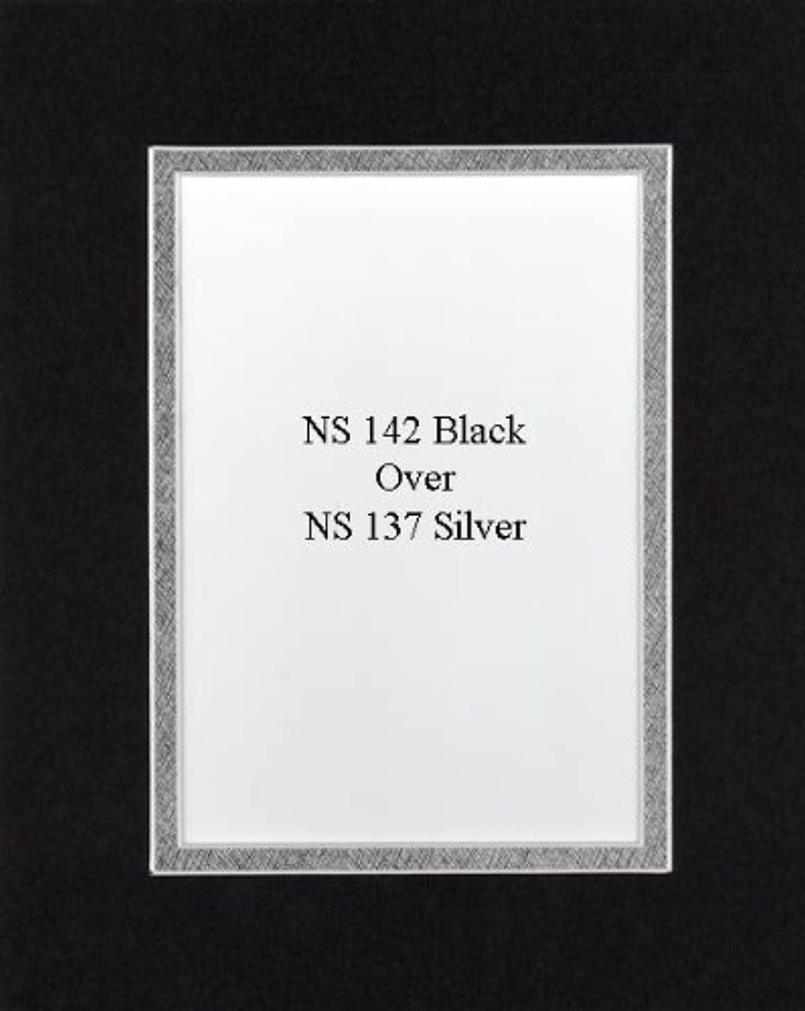 Pack of 32 8x10 Black/Metallic Silver Double Mats Mattes with White Core Bevel Cut for 5x7 Photo + Backing + Bags