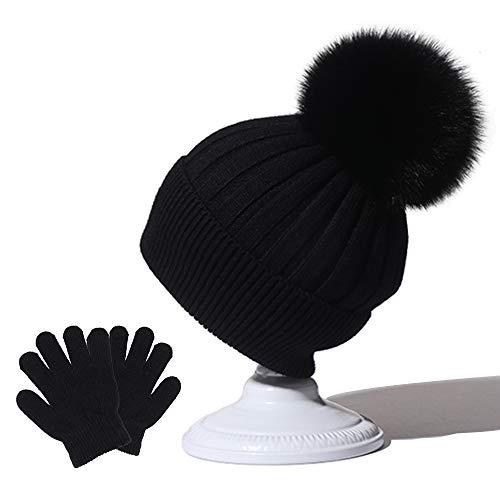 Kids Winter Pom Pom Beanie Hat Bobble Hat with Sunday Angora Pom Warm Knit Skull Cap Beanie Gloves for Girl and Boy Girls Hat and Gloves Set Black