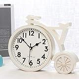 ZBNZ Moda Bicicleta Mesa Reloj Hogar Decoración Sala de estar Desempeño Reloj Reloj Plástico Silent Habitación Dormitorio Reloj Vintage (Color : White)