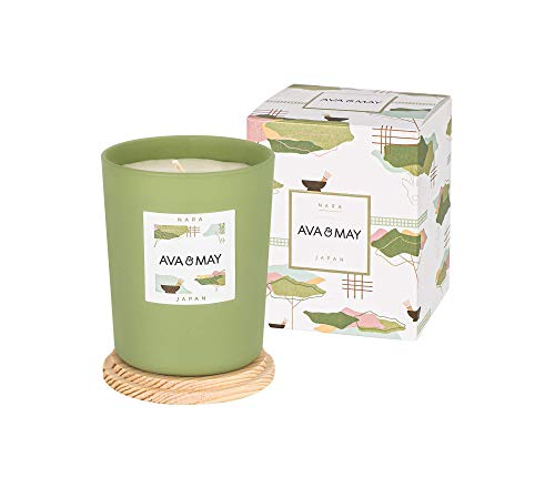 AVA & MAY Nara Candela profumata (180g) – Portacandele in Vetro con Candela al bergamotto, tè Verde e cardamomo – Candele Fatte a Mano per Una Calda Atmosfera
