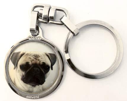 Machu - Porte clés chien CARLIN - Chromée - Alliant robustesse et esthétique - + 50 races dispo. .A l'effigie de votre meilleur ami.