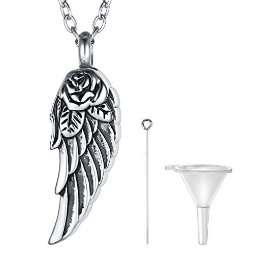FaithHeart Alas de ángel Colgante Abrible de Cremación Collar Memorial Acero Inoxidable Plateado