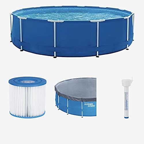 Summer Waves Starter Set Familien Swimmingpool Framepool leistungsstarke Kartuschenfilteranlage Ø×H: ca. 366×84 cm