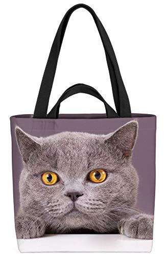 VOID Katze Britisch Kurzhaar Tasche 33x33x14cm,15l Einkaufs-Beutel Shopper Einkaufs-Tasche Bag