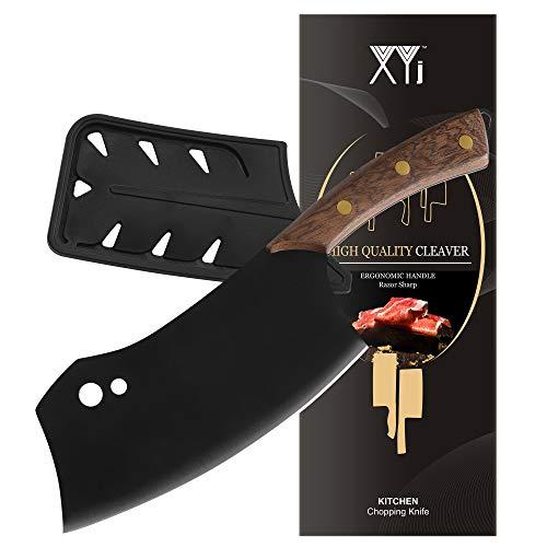 XYJ Küchenmesser Full Tang serbisches Kochmesser Fleischbeil mit Messerkantenschutz Metzger Messer Camping Jagd Hackmesser für Fleischgemüse