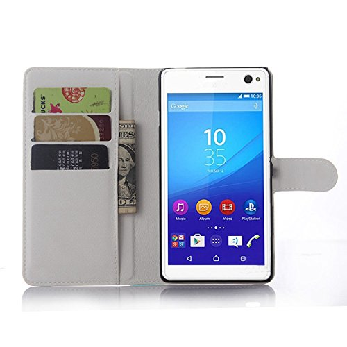 Ycloud Tasche für Sony Xperia C4 Hülle, PU Ledertasche Flip Cover Wallet Hülle Handyhülle mit Stand Function Credit Card Slots Bookstyle Purse Design weiß