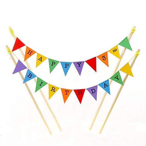 Fantastiska Buntings, Happy 3:E Födelsedag, Födelsedag Kakkoppar, Regnbågsfärger, Justerbar Längd, Högklassig Handgjord Dekoration, 91