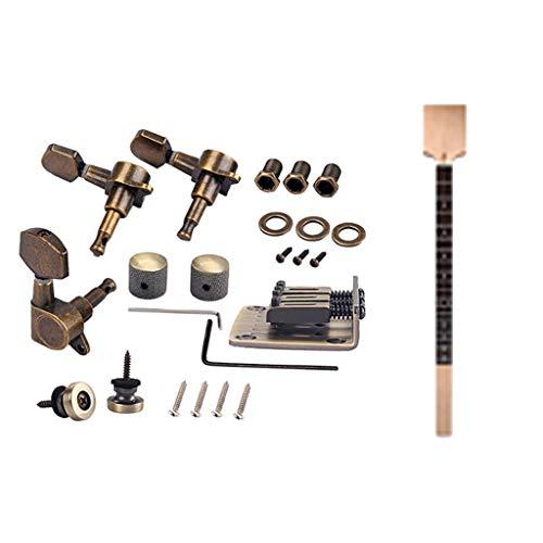 Shiwaki Cigar Box Guitar Kit, Gitarrenhals + Sattelbrücke + 2 x Schraubenschlüssel, 3 x Stimmwirbel, 2 x Gurt Pin/Button Endpins usw