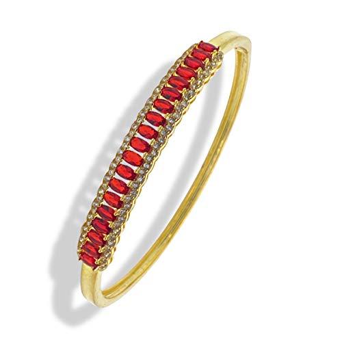 Pulsera de diamantes de talla ovalada de rubí de Dubai Gems con acabado en oro amarillo, con acabado en oro rojo, rubí en rojo, pulseras para mujer | Regalos de joyería para sus pulseras