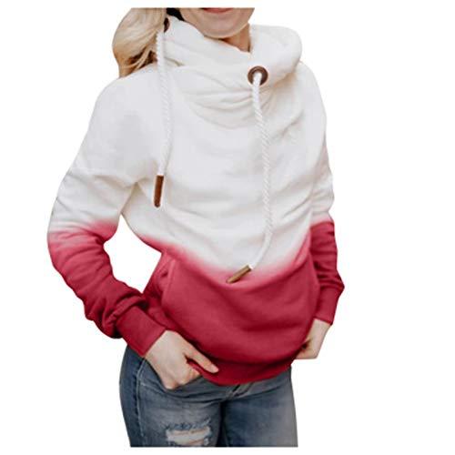 SLYZ Otoño E Invierno para Mujer, Casual, Color Degradado, con Capucha, Cuello Redondo, Suéter, Top para Mujer