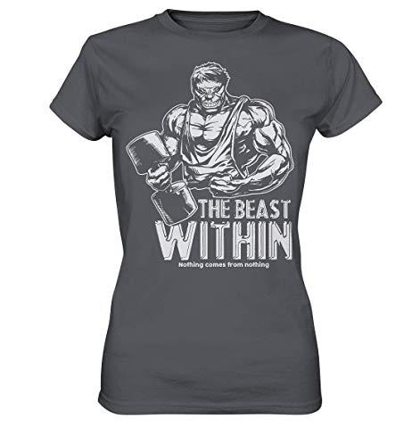 GREG PINE The Beast Within - Nothing Comes from Nothing   Fitness Bodybuilding Pumpen Kraftsport Posen Bodybuilder Motiv Girlie-Shirt Damen