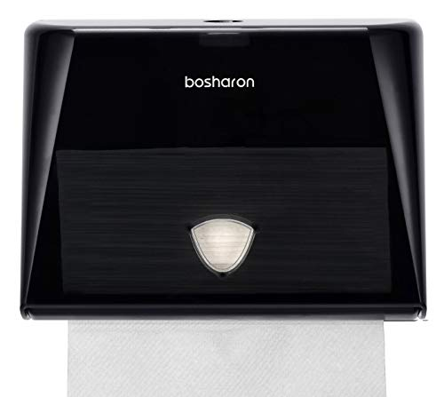 Bosharon Paper Towel Dispenser Wall Mount, Multifold Paper Towel Dispenser Commercial, C Fold Paper Towel Dispenser, Tissue Holder for Home, Kitchen, Office, Business (Black)