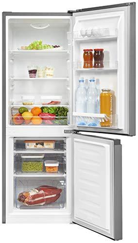 Exquisit Frigorífico y congelador KGC231-60-010E, plateado, dispositivo de pie, 165 l de capacidad, color plateado