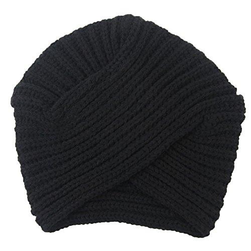 TININNA Vintage Hiver Chaud Slouchy Tricoté Bonnet Inde Chapeau Turban Noir