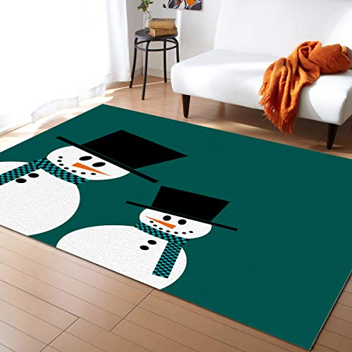 FunkyHome Large Area Rug 5x7ft Cute Snowman Green Collection Area Runner Rugs Merry Christmas Non Slip Carpets for Living Room Bedroom Indoor Outdoor Nursery Rugs Décor