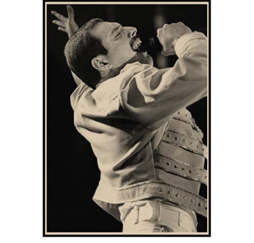 ZOEOPR Poster Queen Band Musik Poster Freddie Mercury Brian May Musik Star Poster und Drucke Malerei Kunst Wandbilder Home Decor 50 * 70cm No Frame