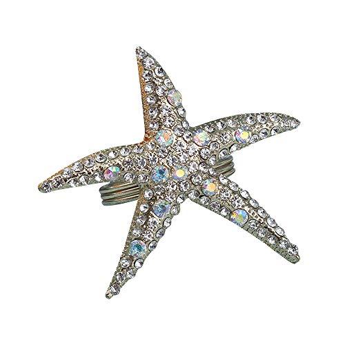QTKJ Crystal Starfish Napkin Ring Set of 6 Metal Napkin Buckle for Christmas, Holidays, Wedding, Parties, Dinners Decor (Silver)