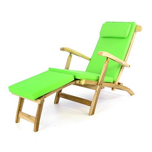 Divero Liegestuhl Deckchair Florentine Steamer Chair mit Auflage Natur hellgrün