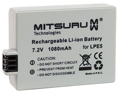 Mitsuru Batteria Compatibile con Canon EOS 1000 1000D 450D 500D Digital EOS EOS1000 EOS1000D Rebel XSi adatta a Canon LP-E5 LPE-5 LPE5