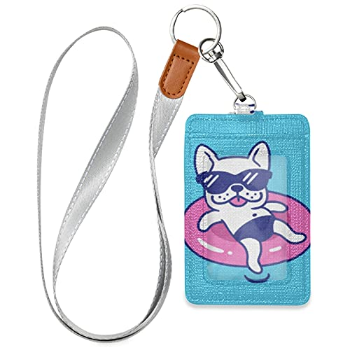 JUAMA French Bulldog with Pink Swimming Laps Blue Pool Badge Holder PU Leather 3 ID Case Case Wallet Cover with Neck Lanyard Security/ Snap Button/ Key Ring for Worker Officer Kids Student