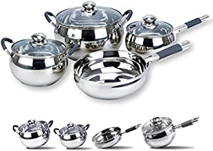 Royalford RF5123 Stainless Steel Induction Safe 7PCs - 2 Casserole, Saucepan Pots with Lids, and Frypan - Induction Safe N...