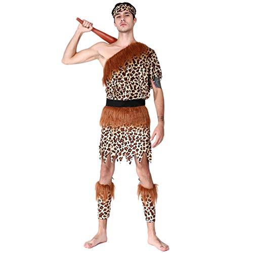 YuanDian Herren Damen Paare Halloween Savage Kostüme Erwachsene Einfache Verkleidung Schminke Karneval Outfit Sets Lustige Cosplay Fasnachtskostüm 9# Männlicher Savage 170-185cm
