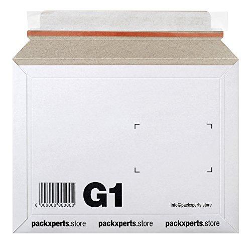 Packxperts Versandtasche aus Karton, selbstklebend mit Abreißstreifen, 235x180 mm, weiß (50er Pack)