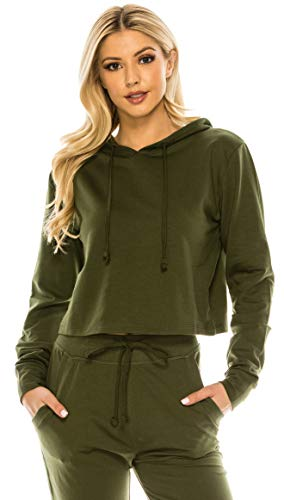 RENESEILLE Women's Crop Hoodie Sweatshirt - Casual French Terry Cropped Long Sleeve Workout Active Pullover Sweater Top FT4805 Olive L