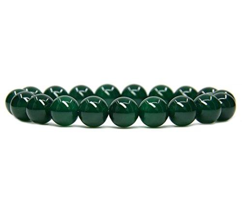 Green Agate Gemstone 10mm Round Beads Stretch Bracelet 7' Unisex